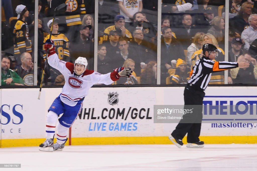 <a gi-track='captionPersonalityLinkClicked' href=/galleries/search?phrase=Brendan+Gallagher&family=editorial&specificpeople=3704208 ng-click='$event.stopPropagation()'>Brendan Gallagher</a> #11 of the Montreal Canadiens scores in a shootout against the Boston Bruins at the TD Garden on March 27, 2013 in Boston, Massachusetts.
