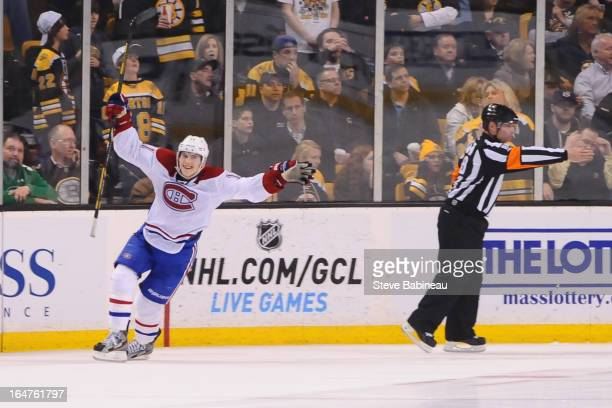 Brendan Gallagher of the Montreal Canadiens scores in a shootout against the Boston Bruins at the TD Garden on March 27 2013 in Boston Massachusetts