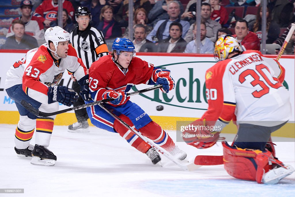 Brendan Gallagher #73 of the Montreal Canadiens shoots the puck on <a gi-track='captionPersonalityLinkClicked' href=/galleries/search?phrase=Scott+Clemmensen&family=editorial&specificpeople=214674 ng-click='$event.stopPropagation()'>Scott Clemmensen</a> #30 of the Florida Panthers during the NHL game at the Bell Centre on January 22, 2013 in Montreal, Quebec, Canada. The Canadiens defeated the Panthers 4-1.