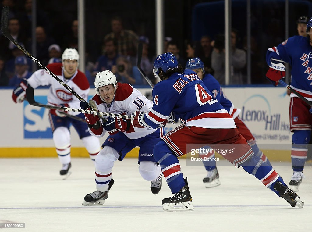 <a gi-track='captionPersonalityLinkClicked' href=/galleries/search?phrase=Brendan+Gallagher&family=editorial&specificpeople=3704208 ng-click='$event.stopPropagation()'>Brendan Gallagher</a> #11 of the Montreal Canadiens skates against the New York Rangers at Madison Square Garden on October 28, 2013 in New York City. The Canadiens shutout the Rangers 2-0.
