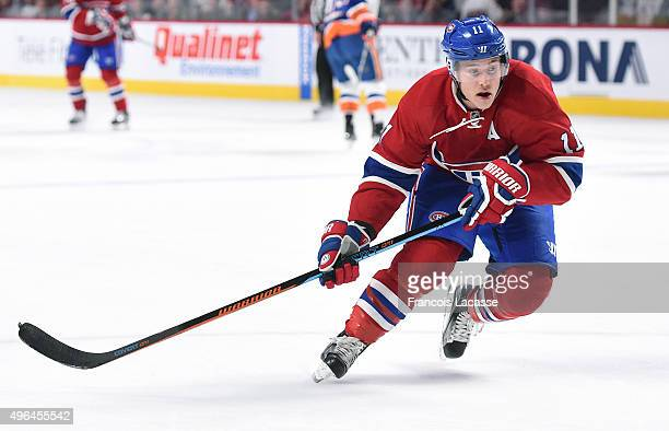 Brendan Gallagher of the Montreal Canadiens skates against the New York Islanders in the NHL game at the Bell Centre on November 5 2015 in Montreal...