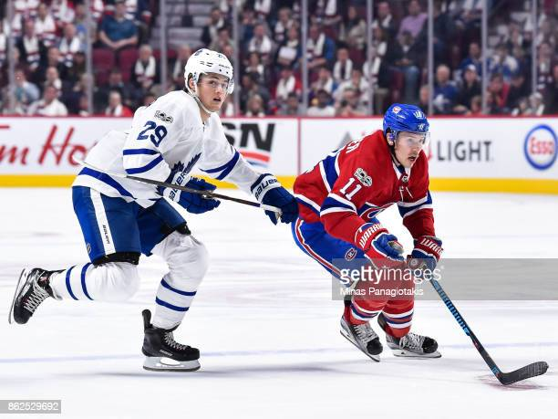 Brendan Gallagher of the Montreal Canadiens skates against William Nylander of the Toronto Maple Leafs during the NHL game at the Bell Centre on...