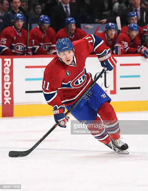 Brendan Gallagher of the Montreal Canadiens skates for position against the Toronto Maple Leafs in the NHL game at the Bell Centre on February 28...