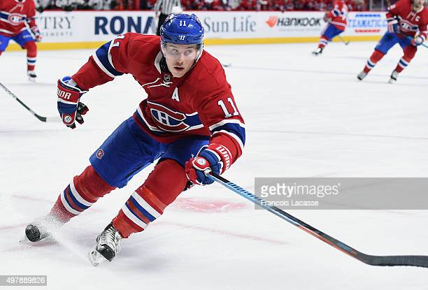 Brendan Gallagher of the Montreal Canadiens skates for the puck against theColorado Avalanche in the NHL game at the Bell Centre on November 14 2015...