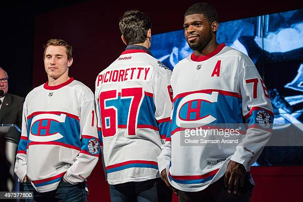Brendan Gallagher PK Subban and Max Pacioretty of the Montreal Canadiens model the Montreal Canadians jersey for Bridgestone NHL Winter Classic...