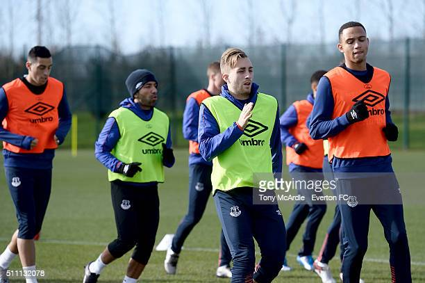 Brendan Galloway and Gerard Deulofeu and team mates during the Everton training session at Finch Farm on February 18 2016 in Halewood England