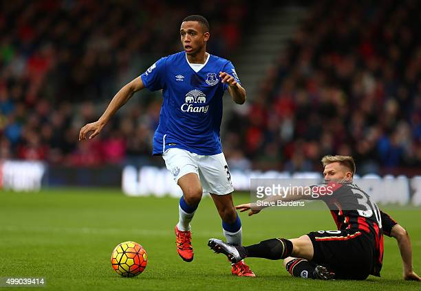 Brendan Galloway of Everton and Matt Ritchie of Bournemouth compete for the ball during the Barclays Premier League match between AFC Bournemouth and...