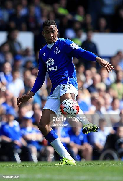 Brendan Galloway of Everton controls the ball during the Barclays Premier League match between Everton and Watford at Goodison Park on August 8 2015...
