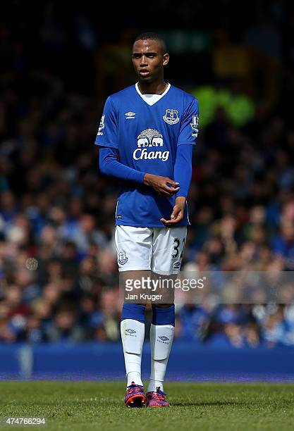 Brendan Galloway of Everton during the Barclays Premier League match between Everton and Tottenham Hotspur at Goodison Park on May 24 2015 in...