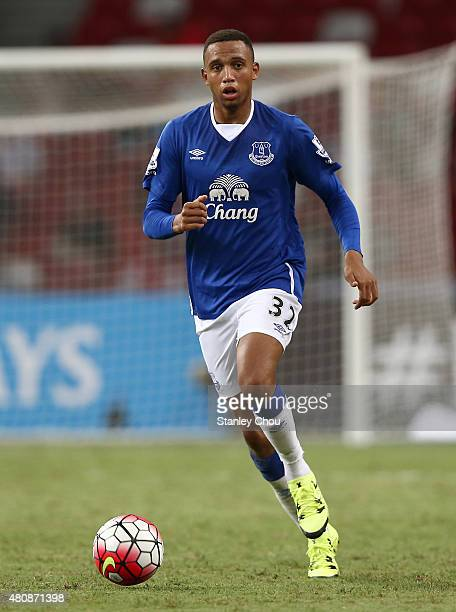 Brendan Galloway of Everton in action during the Barclays Asia Trophy match between Everton and Stoke City at National Stadium on July 15 2015 in...