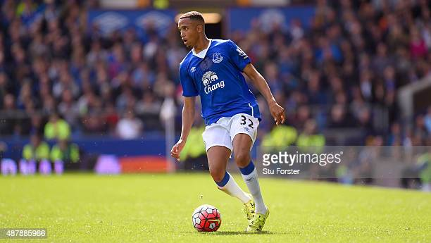 Brendan Galloway of Everton in action during the Barclays Premier League match between Everton and Chelsea at Goodison Park on September 12 2015 in...