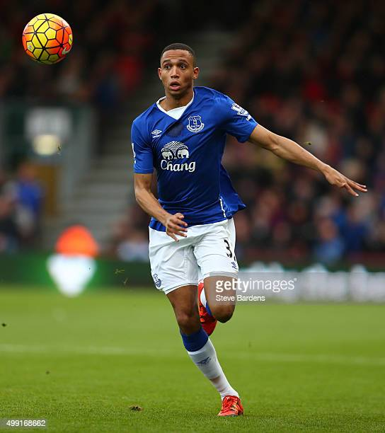 Brendan Galloway of Everton in action during the Barclays Premier League match between AFC Bournemouth and Everton at Vitality Stadium on November 28...