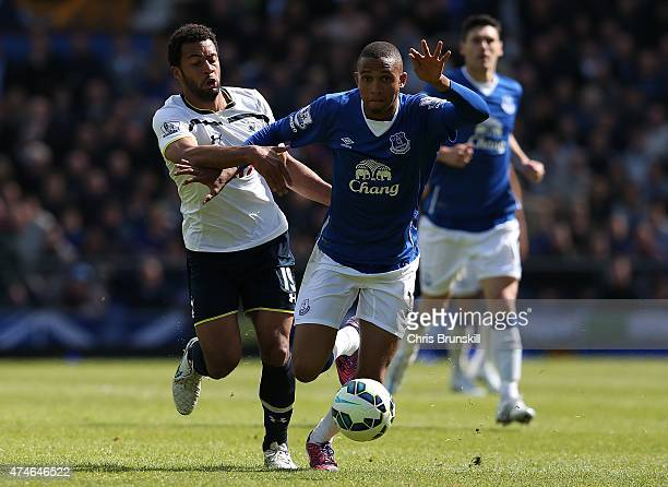 Brendan Galloway of Everton in action with Moussa Dembele of Tottenham Hotspur during the Barclays Premier League match between Everton and Tottenham...
