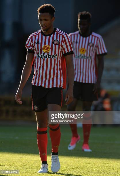 Brendan Galloway of Sunderland in action during the pre season friendly between Livingston and Sunderland at Almondvale Stadium on July 12 2017 in...