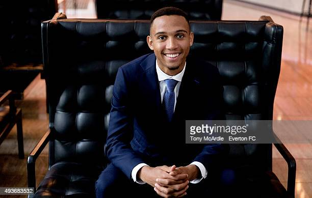 Brendan Galloway poses during a photo shoot for Everton FC on October 21 2015 in Liverpool England