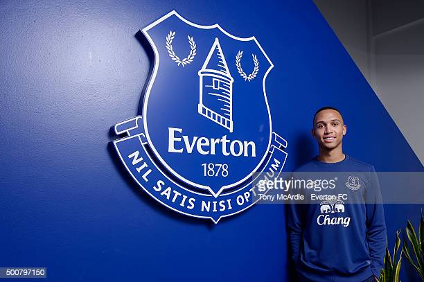 Brendan Galloway signs a new contract with Everton at Finch Farm on December 10 2015 in Liverpool England