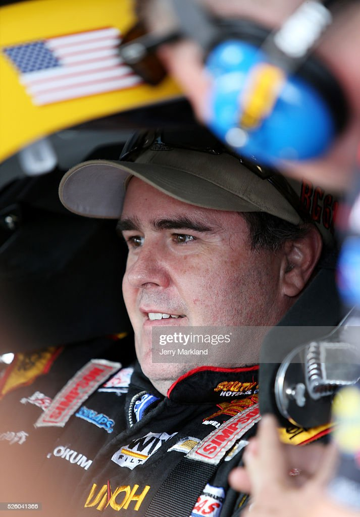 Brendan Gaughan, driver of the #62 South Point Chevrolet, sits in his car in the garage area during practice for the NASCAR XFINITY Series Sparks Energy 300 at Talladega Superspeedway on April 29, 2016 in Talladega, Alabama.