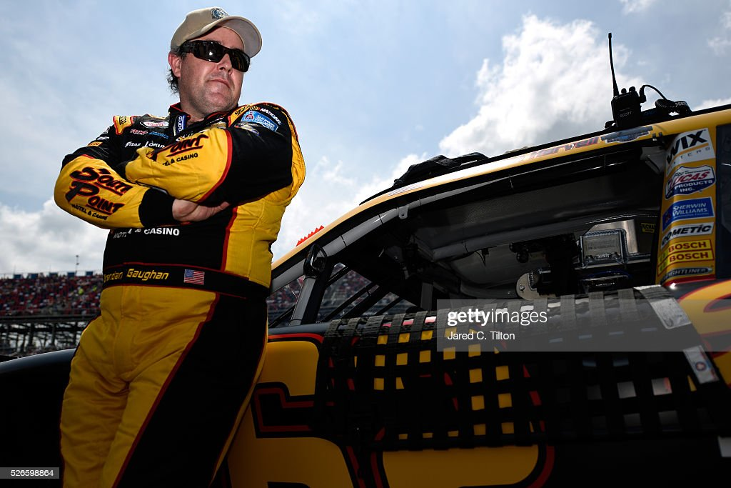 <a gi-track='captionPersonalityLinkClicked' href=/galleries/search?phrase=Brendan+Gaughan&family=editorial&specificpeople=243004 ng-click='$event.stopPropagation()'>Brendan Gaughan</a>, driver of the #62 South Point Chevrolet, stands on the grid during the NASCAR XFINITY Series Sparks Energy 300 at Talladega Superspeedway on April 30, 2016 in Talladega, Alabama.