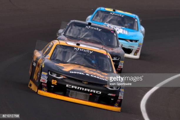 Brendan Gaughan Richard Childress Racing Chevrolet Camaro leads Michael Annett JR Motorsports Chevrolet Camaro and Daniel Hemric Richard Childress...
