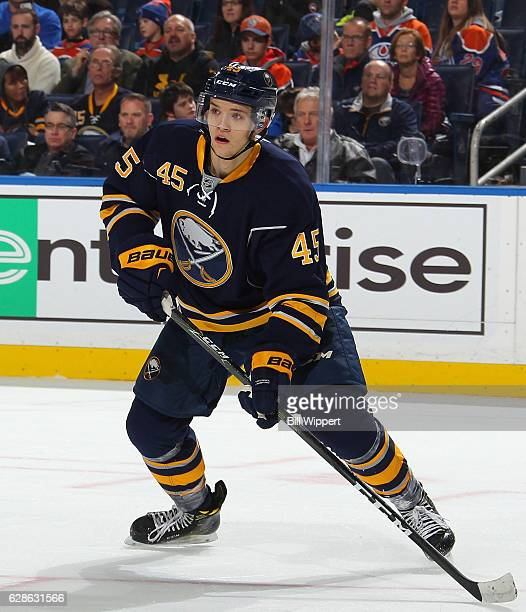 Brendan Guhle of the Buffalo Sabres skates against the Edmonton Oilers during an NHL game at the KeyBank Center on December 6 2016 in Buffalo New York