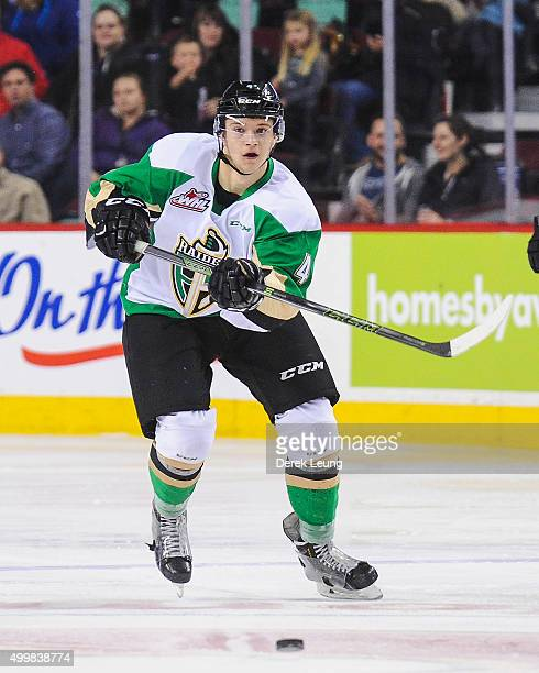 Brendan Guhle of the Prince Albert Raiders skates against the Calgary Hitmen during a WHL game at Scotiabank Saddledome on December 3 2015 in Calgary...