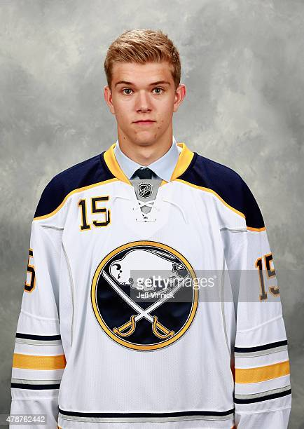 Brendan Guhle poses for a portrait after being selected 51st by the the Buffalo Sabres during the 2015 NHL Draft at BBT Center on June 27 2015 in...