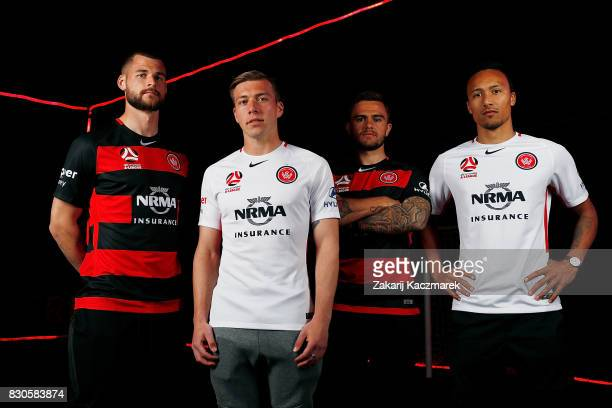 Brendan Hamill Jacob Melling Josh Risdon and Kearyn Baccus pose during the Western Sydney Wanderers 2017/18 ALeague Season kit launch on August 11...