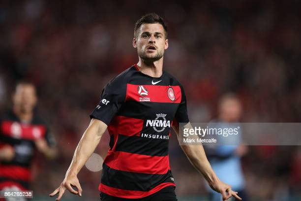 Brendan Hamill of the Wanderers celebrates scoring a goal during the round three ALeague match between Sydney FC and the Western Sydney Wanderers at...
