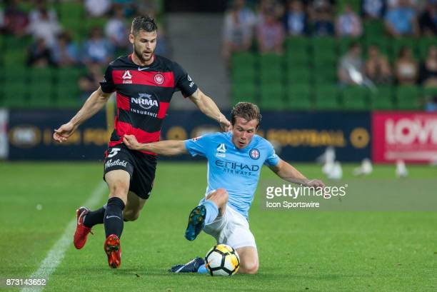 Brendan Hamill of the Western Sydney Wanderers and Nick Fitzgerald of Melbourne City contest the ball during Round 6 of the Hyundai ALeague Series...