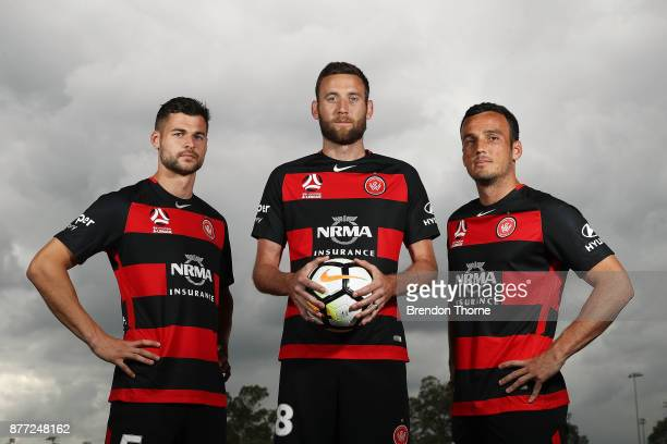 Brendan Hamill Robert Cornthwaite and Mark Bridge pose during the Western Sydney Wanderers captaincy announcement at Blacktown International...