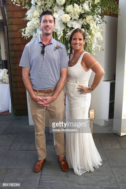 Brendan Hansbury and Bronwen Smith attend the B Floral Cocktail Hour at the Southampton Social Club on August 17 2017 in Southampton New York