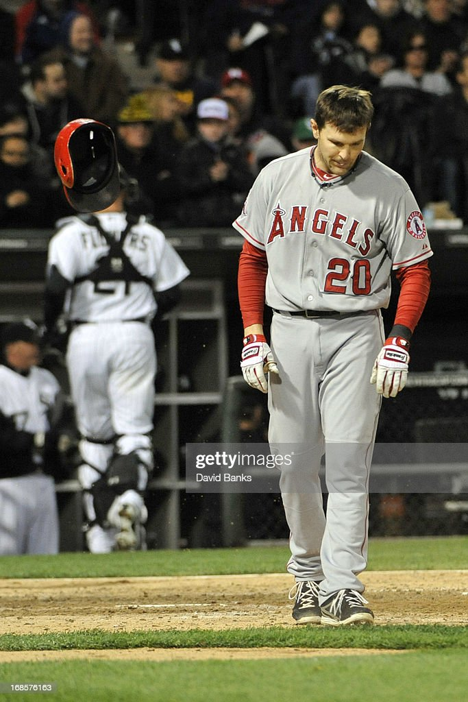 <a gi-track='captionPersonalityLinkClicked' href=/galleries/search?phrase=Brendan+Harris&family=editorial&specificpeople=534816 ng-click='$event.stopPropagation()'>Brendan Harris</a> #20 of the Los Angeles Angels of Anaheim reacts after striking out against the Chicago White Sox during the ninth inning on May 11, 2013 at U.S. Cellular Field in Chicago, Illinois. The Los Angeles Angels of Anaheim defeated the Chicago White Sox 3-2.
