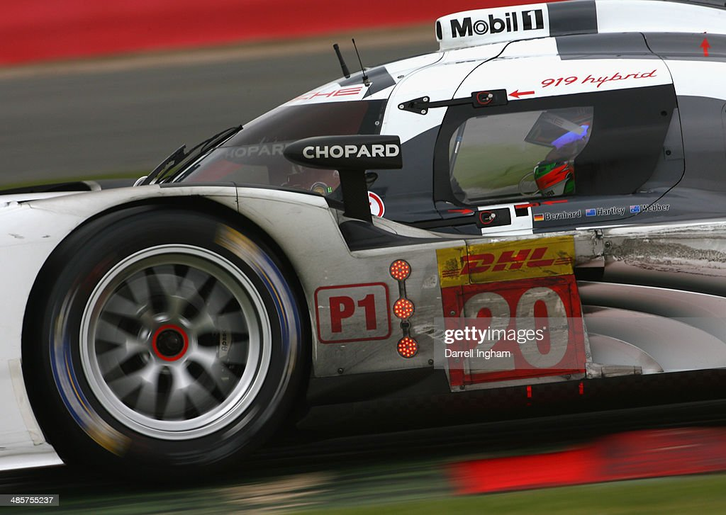 Brendan Hartley of New Zealand drives the #20 Porsche Team Porsche 919 Hybrid LMP1 during the FIA World Endurance Championship 6 Hours of Silverstone sportscar race at the Silverstone Circuit on April 20, 2014 in Northampton, England.