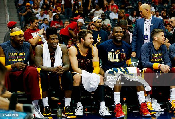 Brendan Haywood Iman Shumpert Matthew Dellavedova LeBron James and Mike Miller of the Cleveland Cavaliers look on from the bench in the final minutes...