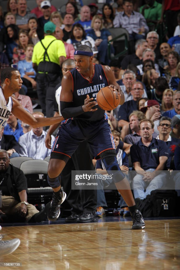 <a gi-track='captionPersonalityLinkClicked' href=/galleries/search?phrase=Brendan+Haywood&family=editorial&specificpeople=202010 ng-click='$event.stopPropagation()'>Brendan Haywood</a> #33 of the Charlotte Bobcats gets ready to drives to the basket against the Dallas Mavericks on November 3, 2012 at the American Airlines Center in Dallas, Texas.