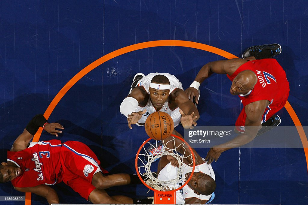 Brendan Haywood #33 of the Charlotte Bobcats grabs a rebound against the Los Angeles Clippers at the Time Warner Cable Arena on December 12, 2012 in Charlotte, North Carolina.