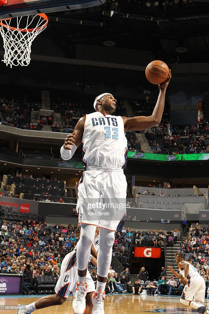 <a gi-track='captionPersonalityLinkClicked' href=/galleries/search?phrase=Brendan+Haywood&family=editorial&specificpeople=202010 ng-click='$event.stopPropagation()'>Brendan Haywood</a> #33 of the Charlotte Bobcats grabs a rebound against the Sacramento Kings at the Time Warner Cable Arena on January 19, 2013 in Charlotte, North Carolina.