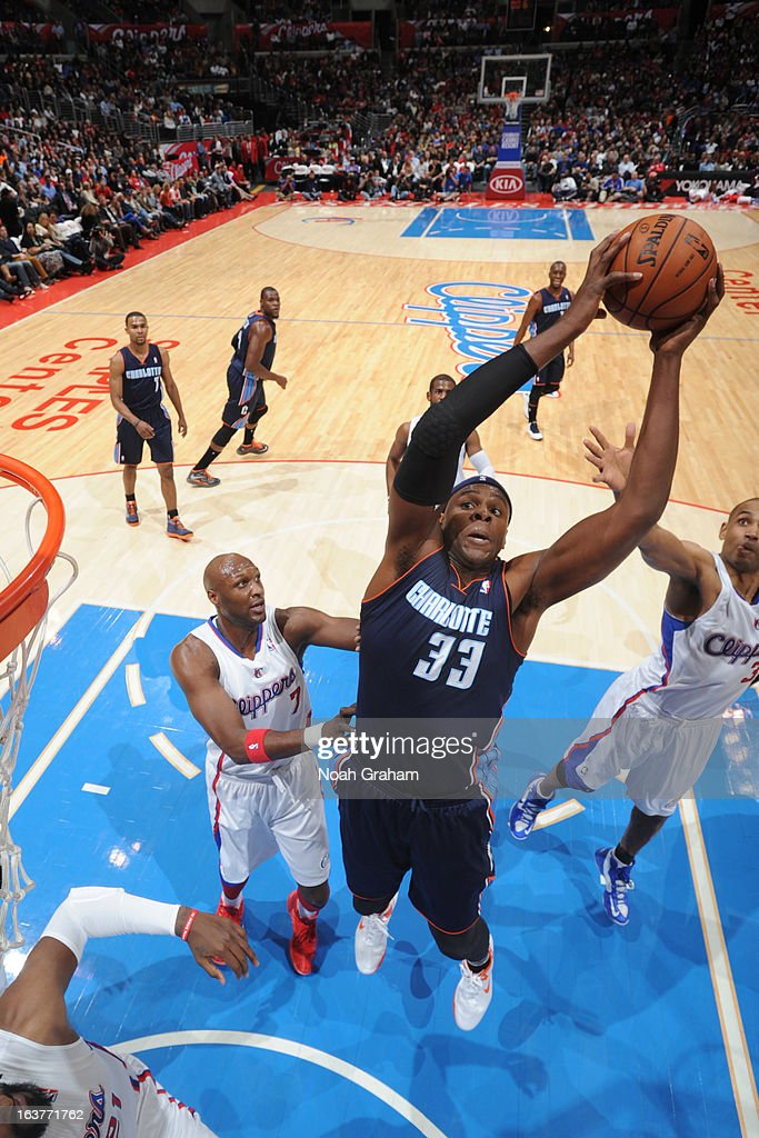 <a gi-track='captionPersonalityLinkClicked' href=/galleries/search?phrase=Brendan+Haywood&family=editorial&specificpeople=202010 ng-click='$event.stopPropagation()'>Brendan Haywood</a> #33 of the Charlotte Bobcats grabs a rebound against the Los Angeles Clippers at Staples Center on February 26, 2013 in Los Angeles, California.