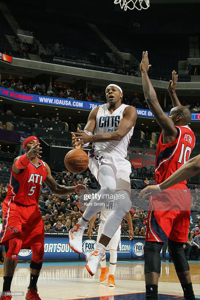Brendan Haywood #33 of the Charlotte Bobcats loses the ball against the Atlanta Hawks at the Time Warner Cable Arena on January 23, 2013 in Charlotte, North Carolina.