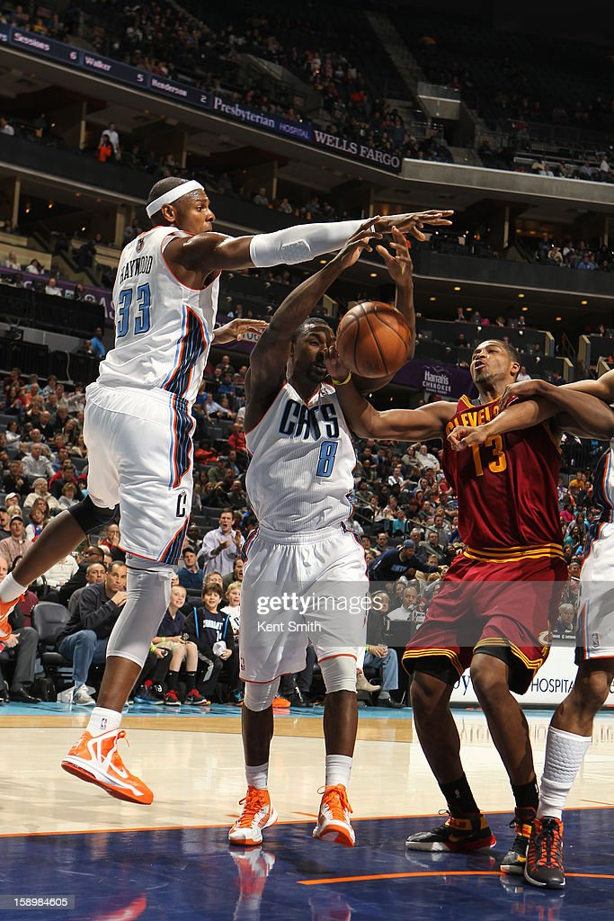 Brendan Haywood #33 of the Charlotte Bobcats on the block against Tristan Thompson #13 of the Cleveland Cavaliers at the Time Warner Cable Arena on January 4, 2013 in Charlotte, North Carolina.