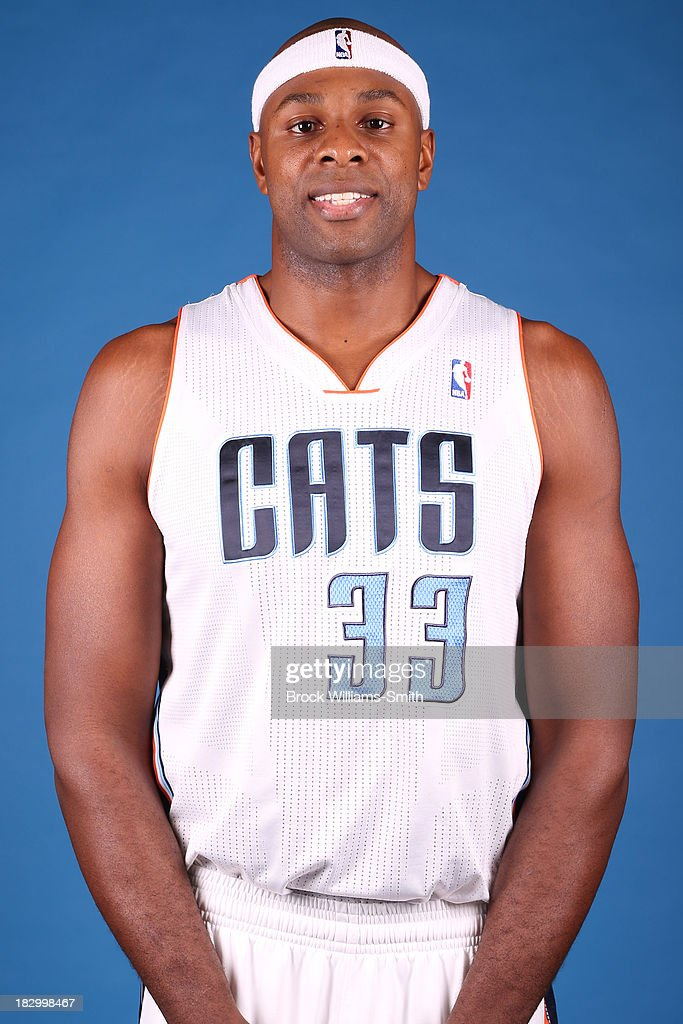 Brendan Haywood #33 of the Charlotte Bobcats poses for media day at the Time Warner Cable Arena on September 20, 2013 in Charlotte, North Carolina.