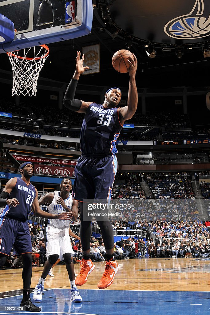 Brendan Haywood #33 of the Charlotte Bobcats rebounds against the Orlando Magic on January 18, 2013 at Amway Center in Orlando, Florida.