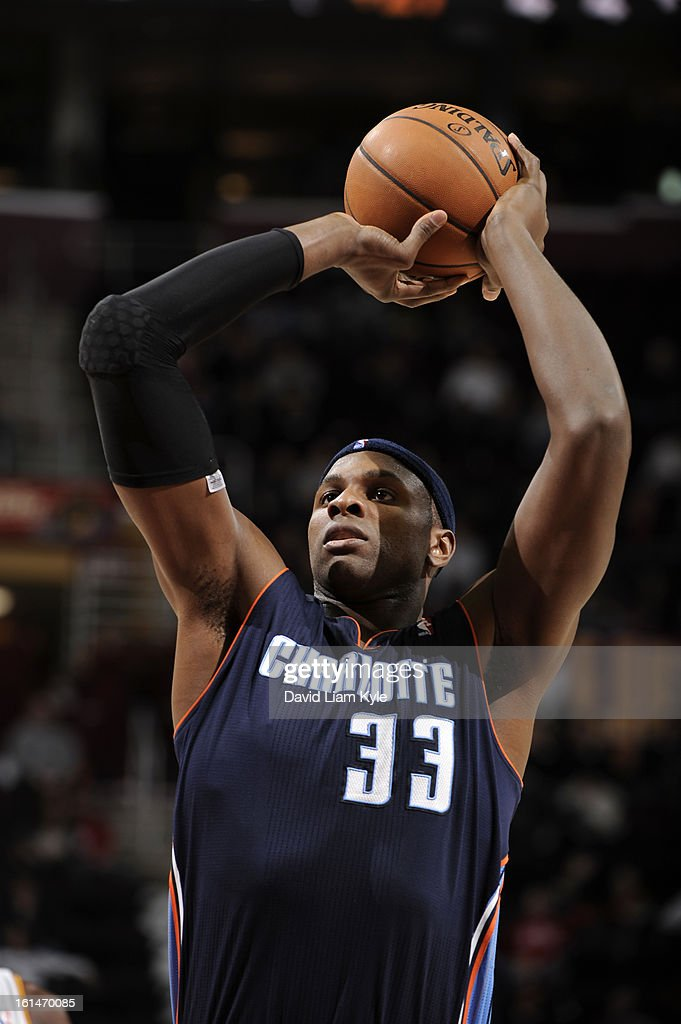 <a gi-track='captionPersonalityLinkClicked' href=/galleries/search?phrase=Brendan+Haywood&family=editorial&specificpeople=202010 ng-click='$event.stopPropagation()'>Brendan Haywood</a> #33 of the Charlotte Bobcats shoots a foul shot against the Cleveland Cavaliers at The Quicken Loans Arena on February 6, 2013 in Cleveland, Ohio.