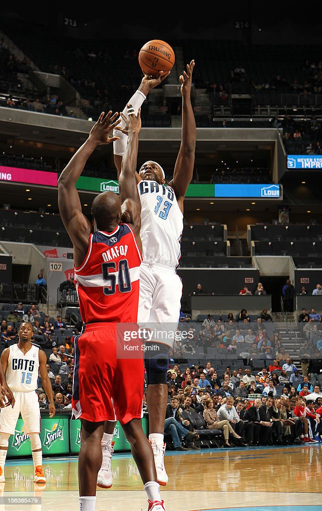 <a gi-track='captionPersonalityLinkClicked' href=/galleries/search?phrase=Brendan+Haywood&family=editorial&specificpeople=202010 ng-click='$event.stopPropagation()'>Brendan Haywood</a> #33 of the Charlotte Bobcats shoots against <a gi-track='captionPersonalityLinkClicked' href=/galleries/search?phrase=Emeka+Okafor&family=editorial&specificpeople=201739 ng-click='$event.stopPropagation()'>Emeka Okafor</a> #50 of the Washington Wizards at the Time Warner Cable Arena on November 13, 2012 in Charlotte, North Carolina.