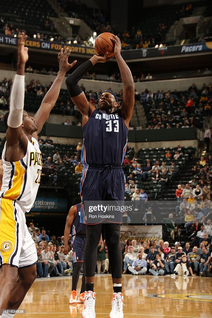 Brendan Haywood #33 of the Charlotte Bobcats shoots against the Indiana Pacers on February 13, 2013 at Bankers Life Fieldhouse in Indianapolis, Indiana.
