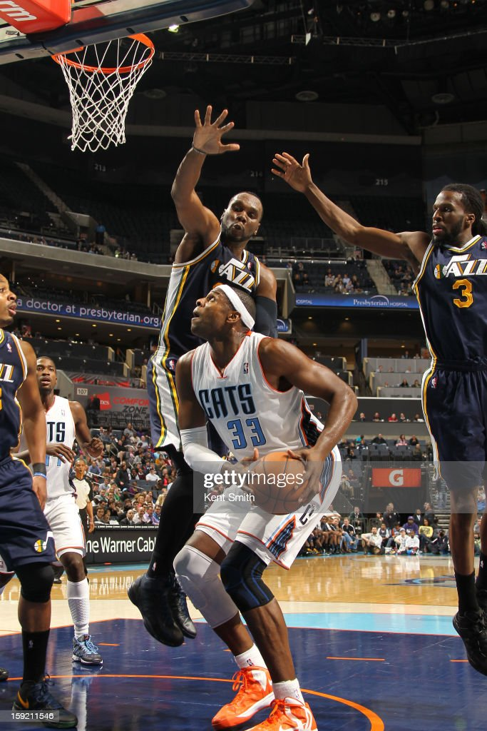 Brendan Haywood #33 of the Charlotte Bobcats shoots against the Utah Jazz at the Time Warner Cable Arena on January 9, 2013 in Charlotte, North Carolina.