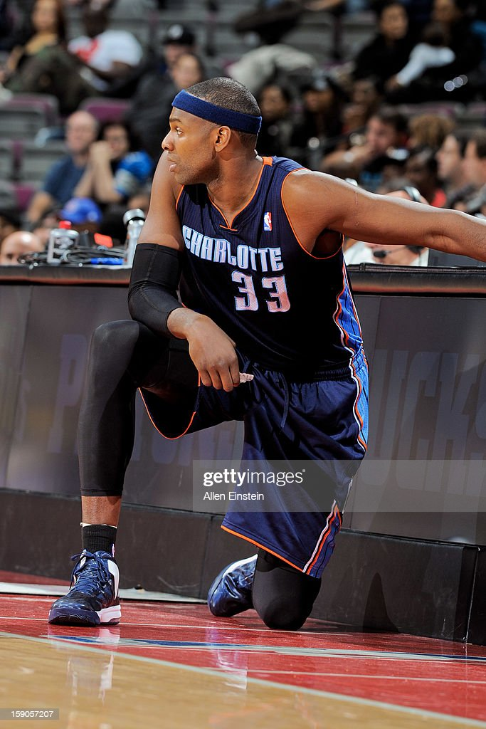 Brendan Haywood #33 of the Charlotte Bobcats waits to check into a game against the Detroit Pistons on January 6, 2013 at The Palace of Auburn Hills in Auburn Hills, Michigan.