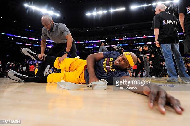 Brendan Haywood of the Cleveland Cavaliers stretches before a game against the Los Angeles Lakers at STAPLES Center on January 15 2015 in Los Angeles...