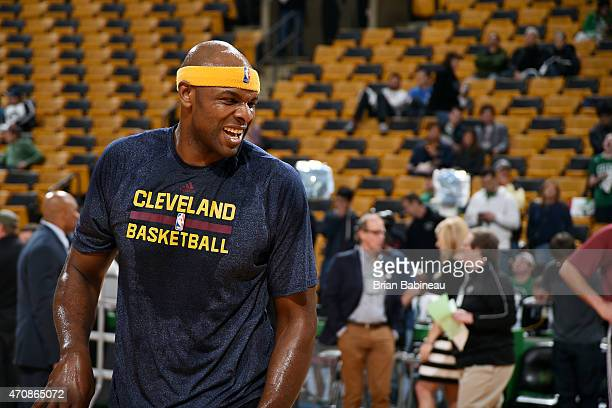 Brendan Haywood of the Cleveland Cavaliers warms up before a game against the Boston Celtics in Game Three of the Eastern Conference Quarterfinals...