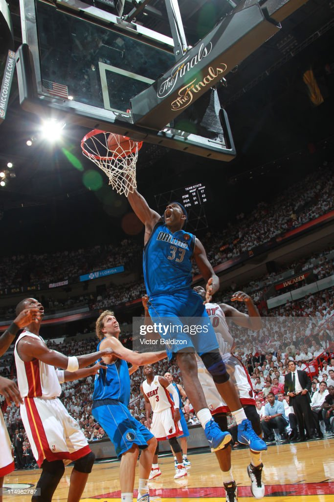 <a gi-track='captionPersonalityLinkClicked' href=/galleries/search?phrase=Brendan+Haywood&family=editorial&specificpeople=202010 ng-click='$event.stopPropagation()'>Brendan Haywood</a> #33 of the Dallas Mavericks dunks against the Miami Heat during Game One of the 2011 NBA Finals on May 31, 2011 at the American Airlines Arena in Miami, Florida.